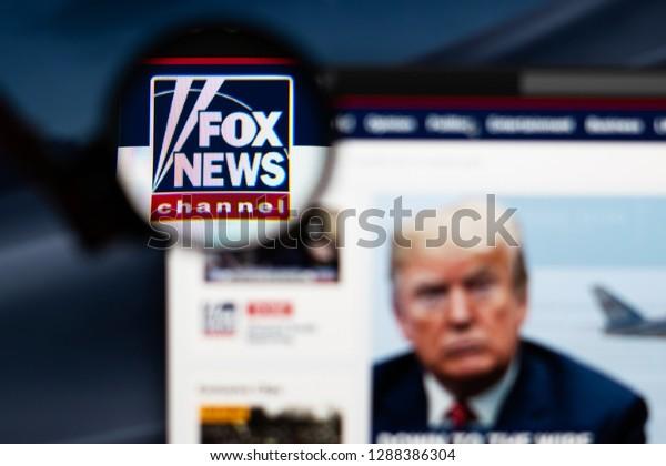 Tallinn, Estonia - 01/18/2019: Fox News website homepage. Fox News channel logo visible  through a magnifying glass.