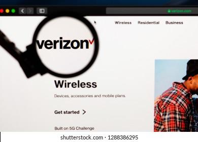 Tallinn, Estonia - 01/18/2019: Verizon website homepage. Verizon logo visible  through a magnifying glass.