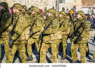 Tallinn, Estonia - 02/24/2020: Celebration of the Independence Day of Estonia in the capital city, soldiers marching during the military parade