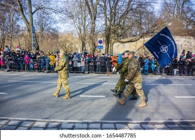 Tallinn, Estonia - 02/24/2020: Celebration of the Independence Day of Estonia in the capital city, NATO soldiers marching in military parade