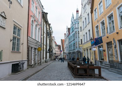 Tallinn. Estonia. 04 may 2018. Buildings in the old town on Pikk street