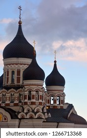 TALLINN ESTONIA 09 18 2015: Alexander Nevsky Cathedral is an orthodox cathedral in Tallinn It was built to a design by Mikhail Preobrazhensky in a typical Russian Revival style between 1894 and 1900