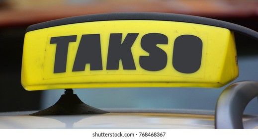 TALLINN ESTONIA 09 26 2015: Sign of AS Tallink Takso is an Estonian transport company whose main activity is the provision of taxi services in Tallinn
