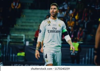 TALLINN, ESTONIA - 15 August, 2018: Sergio Ramos  during the final 2018 UEFA Super Cup match between Atletico Madrid vs Real Madrid at the A. Le Coq Arena Stadium, Estonia