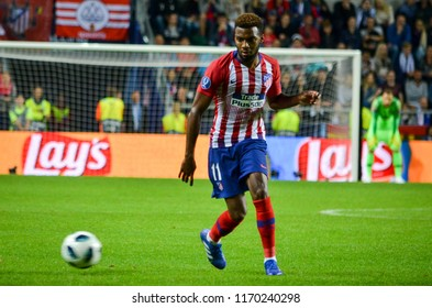 TALLINN, ESTONIA - 15 August, 2018: Thomas Lemar during the final 2018 UEFA Super Cup match between Atletico Madrid vs Real Madrid at the A. Le Coq Arena Stadium, Estonia