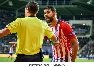 TALLINN, ESTONIA - 15 August, 2018: Diego Costa emotionally argues with the judge during the final 2018 UEFA Super Cup match between Atletico Madrid vs Real Madrid, Estonia