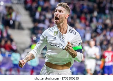 TALLINN, ESTONIA - 15 AUGUST, 2018: Sergio Ramos of Real Madrid celebrates a goal during the UEFA Super Cup 2018 match between Real Madrid and Atletico Madrid.