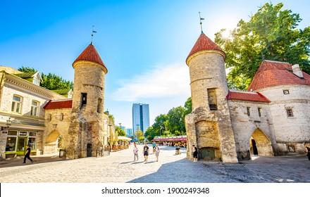 Tallinn, Estonia - 30 July, 2020:  Old town view and medieval Viru Gates in Tallinn