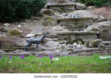 Tallinn, Estonia - April 7, 2016: a small statue of a deer in the old town of Tallinn; at one of the smallest parks, the Deer Park (Hirvepark)