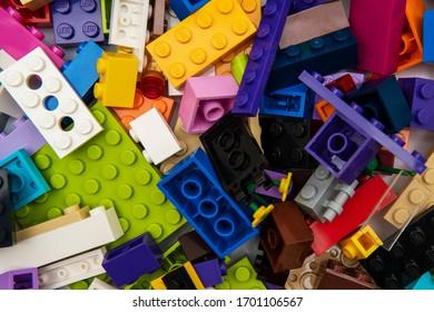 Tallinn / Estonia - April 9, 2020: The most popular Lego blocks - plastic construction toy by The Lego Group corporation