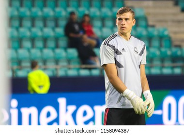 TALLINN, ESTONIA - AUGUST 15, 2018: Ukrainian professional footballer Andriy Lunin during the match 2018 UEFA Super Cup Real Madrid - Atletico at the stadium A. Le Coq Arena