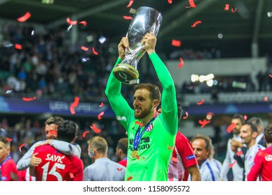 TALLINN, ESTONIA - AUGUST 15, 2018: Slovenian professional footballer Jan Oblak during the match 2018 UEFA Super Cup Real Madrid - Atletico at the stadium A. Le Coq Arena