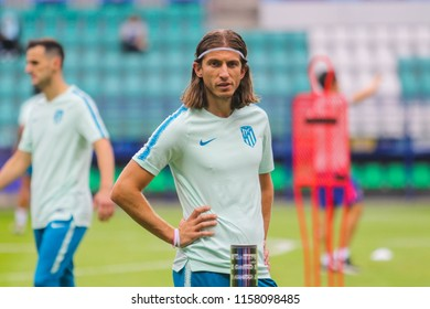 TALLINN, ESTONIA - AUGUST 15, 2018: Brazilian professional footballer Filipe Luis during the match 2018 UEFA Super Cup Real Madrid - Atletico at the stadium A. Le Coq Arena