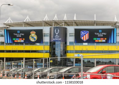 TALLINN, ESTONIA - AUGUST 15, 2018:  Football stadium A. Le Coq Arena during the match 2018 UEFA Super Cup Real Madrid - Atletico at the stadium A. Le Coq Arena