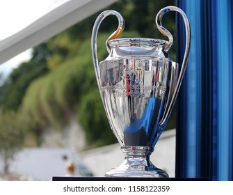 TALLINN, ESTONIA - AUGUST 15, 2018: UEFA Champions League Cup during the match 2018 UEFA Super Cup Real Madrid - Atletico at the stadium A. Le Coq Arena