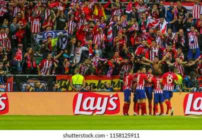 TALLINN, ESTONIA - AUGUST 15, 2018: Footballers of Madrid Atletico are glad to win during the match 2018 UEFA Super Cup Real Madrid - Atletico at the stadium A. Le Coq Arena