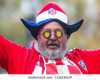 TALLINN, ESTONIA - AUGUST 15, 2018: Spanish football fans during the match 2018 UEFA Super Cup Real Madrid - Atletico at the stadium A. Le Coq Arena