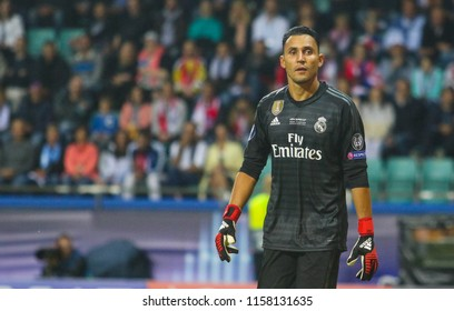 TALLINN, ESTONIA - AUGUST 15, 2018: Costa Rican professional footballer Keylor Navas during the match 2018 UEFA Super Cup Real Madrid - Atletico at the stadium A. Le Coq Arena
