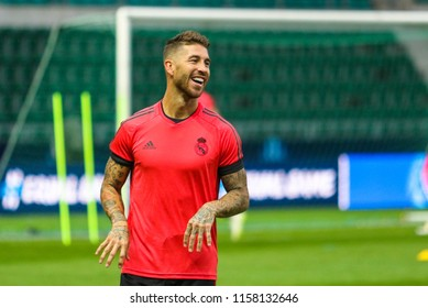 TALLINN, ESTONIA - AUGUST 15, 2018: Spanish professional footballer Sergio Ramos during the match 2018 UEFA Super Cup Real Madrid - Atletico at the stadium A. Le Coq Arena