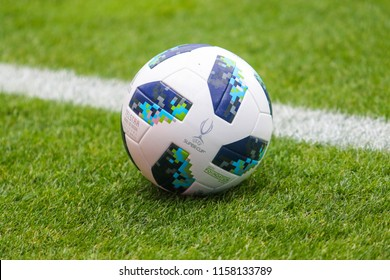 TALLINN, ESTONIA - AUGUST 15, 2018: Ball UEFA Super Cup during the match 2018 UEFA Super Cup Real Madrid - Atletico at the stadium A. Le Coq Arena