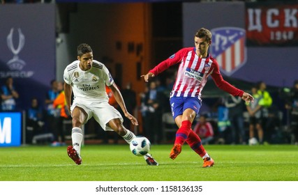 TALLINN, ESTONIA - AUGUST 15, 2018: French professional footballer Antoine Griezmann (R) during the match 2018 UEFA Super Cup Real Madrid - Atletico at the stadium A. Le Coq Arena