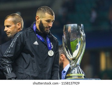 TALLINN, ESTONIA - AUGUST 15, 2018: French professional footballer Karim Benzema during the match 2018 UEFA Super Cup Real Madrid - Atletico at the stadium A. Le Coq Arena