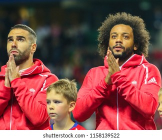 TALLINN, ESTONIA - AUGUST 15, 2018: Dani Carvajal and Marcelo during the match 2018 UEFA Super Cup Real Madrid - Atletico at the stadium A. Le Coq Arena