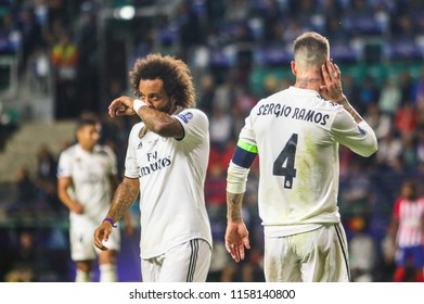 TALLINN, ESTONIA - AUGUST 15, 2018: Brazilian professional footballer Marcelo during the match 2018 UEFA Super Cup Real Madrid - Atletico at the stadium A. Le Coq Arena
