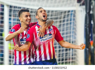 TALLINN, ESTONIA - AUGUST 15, 2018: Angel Correa and Koke during the match 2018 UEFA Super Cup Real Madrid - Atletico at the stadium A. Le Coq Arena