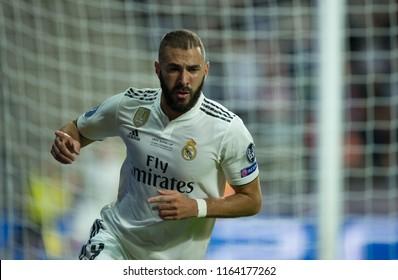 TALLINN, ESTONIA - AUGUST 15, 2018: Real Madrid striker Karim Benzema celebrates his goal of UEFA Super Cup match against of Atletico Madrid