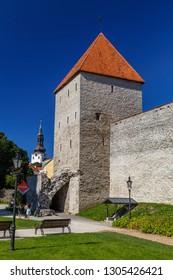 TALLINN / ESTONIA - AUGUST 2015: Medieval fortifications of Tallinn old town, Estonia