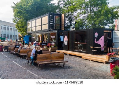 TALLINN, ESTONIA - AUGUST 23, 2016: Cafe made of containers in Telliskivi Creative CIty in Tallinn.