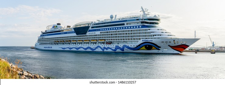 Tallinn / Estonia - August 23, 2019: Cruise ship AIDAluna of the AIDA Cruises Fleet docked in Vanasadam Tallinn Harbour in Estonia. Cruise ship in the Baltic Sea.