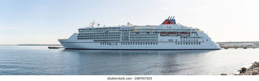 Tallinn / Estonia - August 25, 2019: Cruise ship MS Europa 2 of the  Hapag-Lloyd Cruises Fleet docked in Vanasadam Tallinn Harbour in Estonia. Cruise ship in the Baltic Sea.
