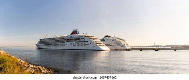 Tallinn / Estonia - August 25, 2019: Cruise ship MS Europa 2 of the  Hapag-Lloyd Cruises Fleet and other ship docked in Vanasadam Tallinn Harbour in Estonia. Cruise ship in the Baltic Sea.