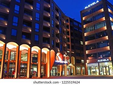 TALLINN, ESTONIA - AUGUST 30, 2018: Modern architecture of Metropol hotel in Rotermann quarter in the evening