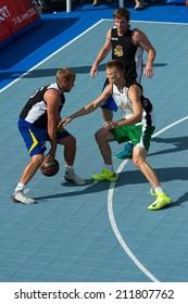 Tallinn, Estonia, August 9, 2014 - Streetball in the center of Tallinn, Estonia. Giedrius Marciukaitis (Stangistai, Lithuania)