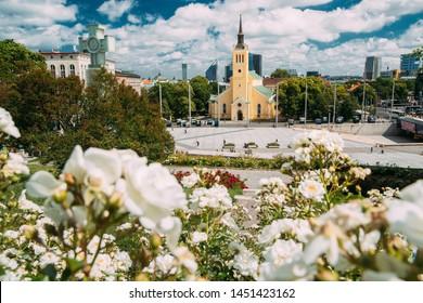 Tallinn, Estonia. Church Of St. John Jaani Kirik At Sunny Summer Day. Large Lutheran Parish Church In Tallinn Dedicated To St. John The Evangelist, Disciple Of Jesus Christ.