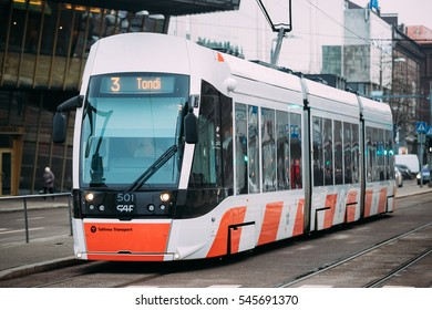 Tallinn, Estonia - December 2, 2016: Modern tram with the number of the third route in the streets of Tallinn.