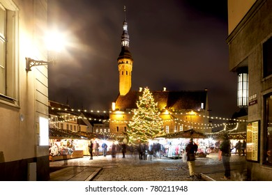 TALLINN, ESTONIA  - DECEMBER 21, 2017: Photo of Christmas Market in Town Hall Square. Old city.