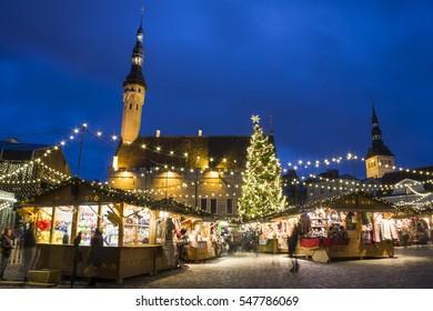 TALLINN, ESTONIA - DECEMBER 23, 2016: Christmas market in the old town of Tallinn, Estonia on December 23, 2016
