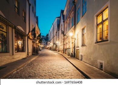 Tallinn, Estonia - December 4, 2016: View Of Old Architecture On Dunkri Street In Evening Night Illuminations.