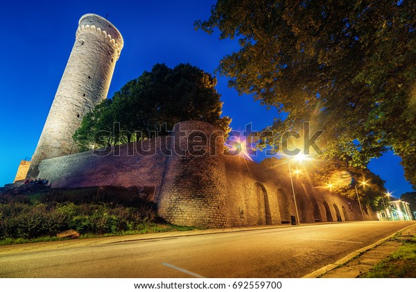 Tallinn, Estonia: the defensive city wall at night