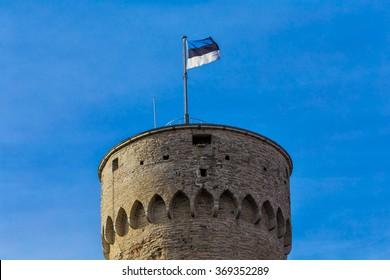 Tallinn, Estonia - The Estonian Flag on the Tower on the Toompea Hill