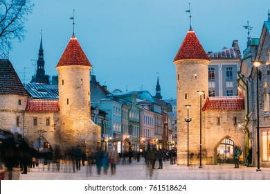 Tallinn, Estonia. Famous Landmark Viru Gate In Street Lighting At Evening Or Night Illumination. Christmas, Xmas, New Year Holiday Vacation In Old Town. Popular Touristic Place