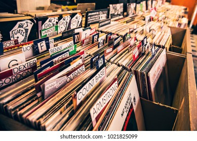 TALLINN, ESTONIA - February 2018: Old vintage vinyl shop in Tallinn, Estonia. Collection of LP vinyl records for sale in music shop in Tallinn
