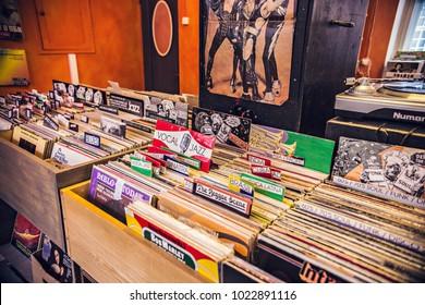 TALLINN, ESTONIA - February 2018: Old vintage vinyl shop in Tallinn, Estonia. Collection of LP vinyl records for sale in music shop in Tallinn