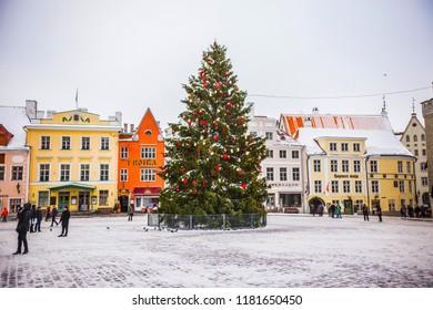 TALLINN, ESTONIA - February 2018: Old Tallinn Raekoja plats on winter day, Tallinn, Estonia