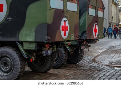 TALLINN, ESTONIA - FEBRUARY 24, 2016: Celebrating of Day of Independence and the Defence Forces parade on Freedom Square in Tallinn, Estonia