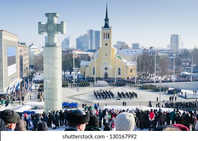 TALLINN, ESTONIA - FEBRUARY 24: Celebrating of Day of Independence and the Defence Forces parade  on Freedom Square February 24, 2013 in Tallinn, Estonia.